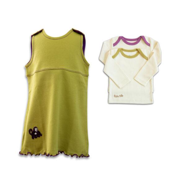 "Wohlfühl-Outfit ""Affe"": grünes Kleid/Tunika u. Shirt"