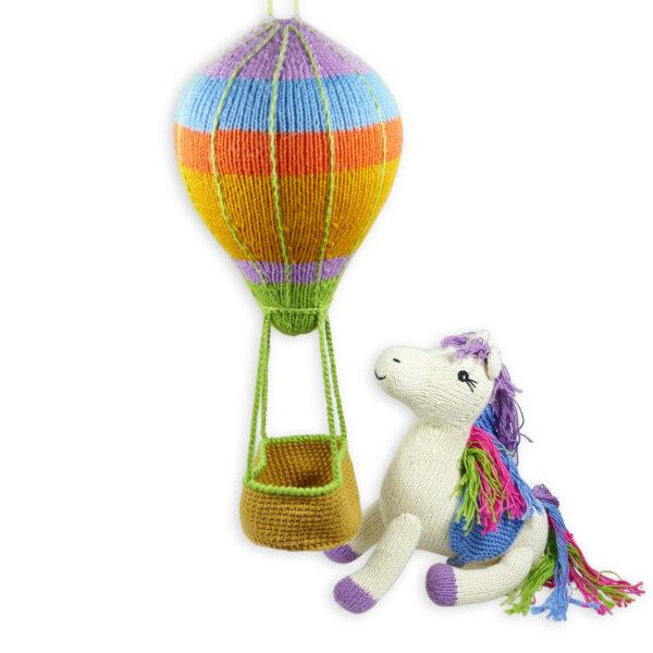 Chill n Feel - Geschenk zur Geburt von Baby-Mädchen Heißluftballon Mobile und Einhorn (3)