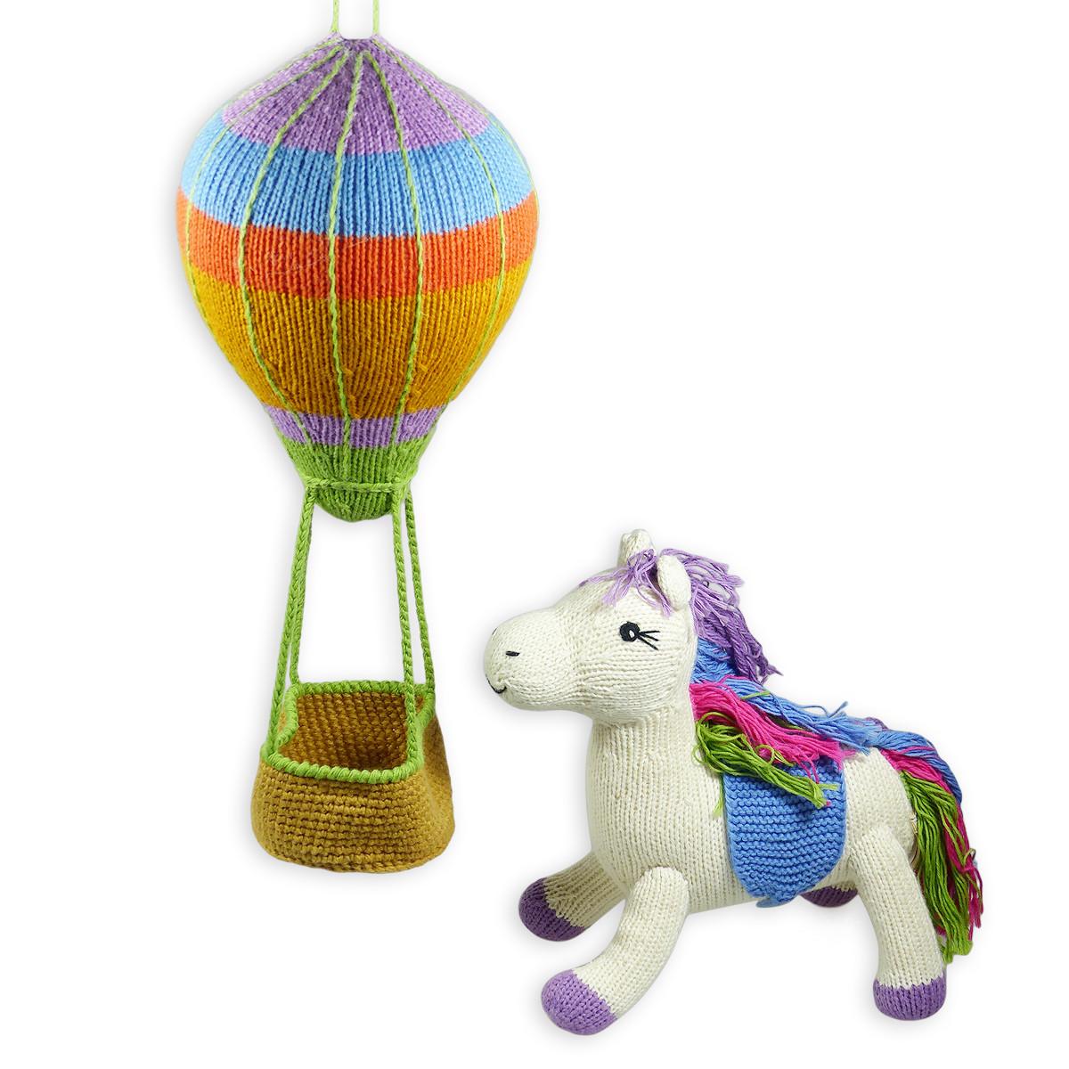 Chill n Feel - Geschenk zur Geburt von Baby-Mädchen Heißluftballon Mobile und Einhorn (4)