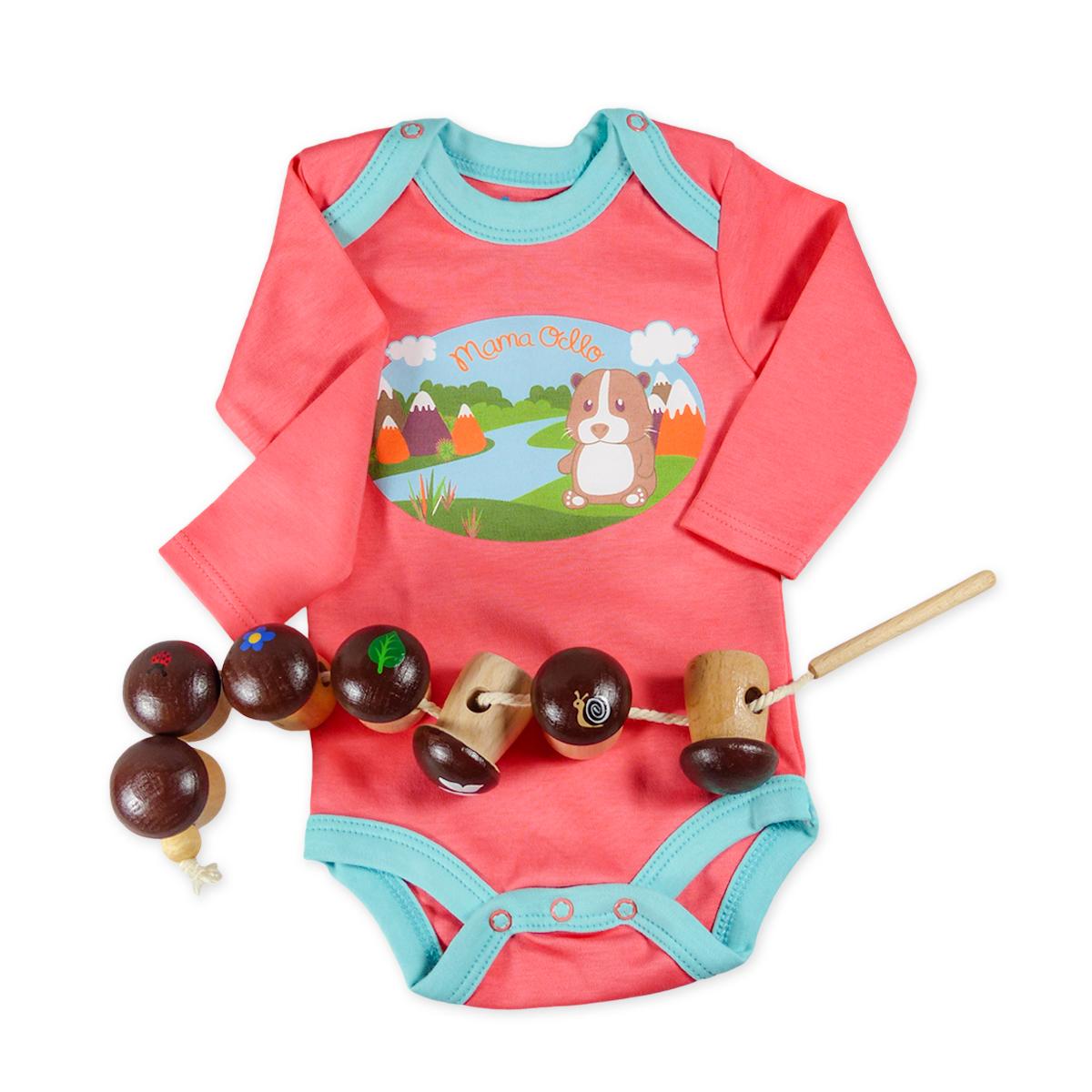 Chill n Feel - Baby-Geschenk Body Meerschweinchen u. Holz-Fädelspiel Wald (2)
