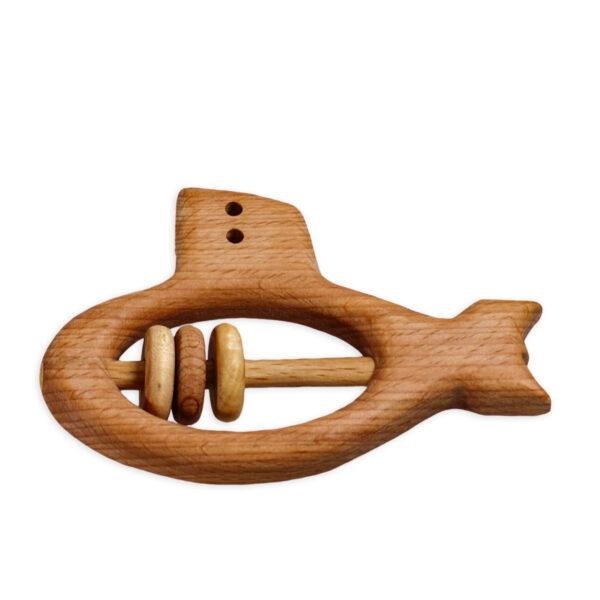 Chill n Feel - Baby-Geschenk Holz-Rassel U-Boot Wickelbody Türkis (1)