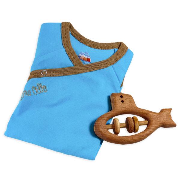 Chill n Feel - Baby-Geschenk Holz-Rassel U-Boot Wickelbody Türkis (2)
