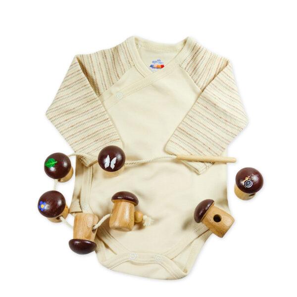 Chill n Feel - Baby-Geschenk Wickelbody natur Holz-Fädelspiel Pilze (3)