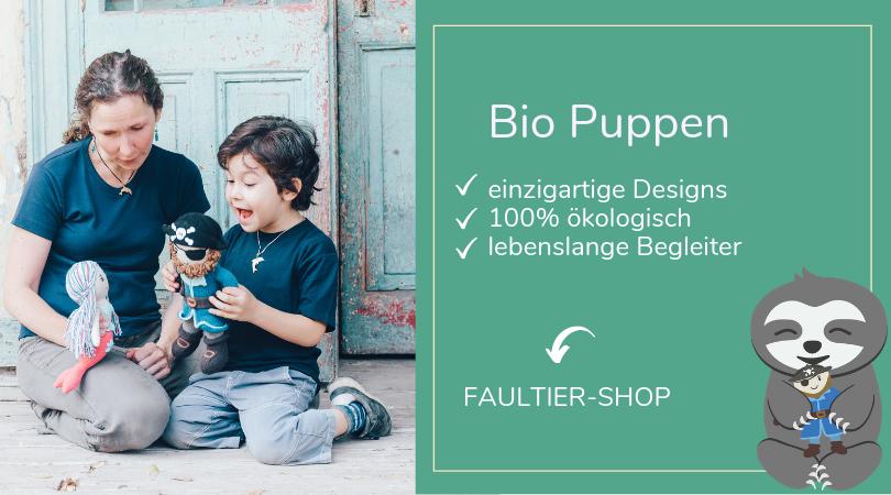 Bio Puppen aus Bio Baumwolle_Recycling Füllmaterial_Meerjungfrau_Faultier_ChillnFeel