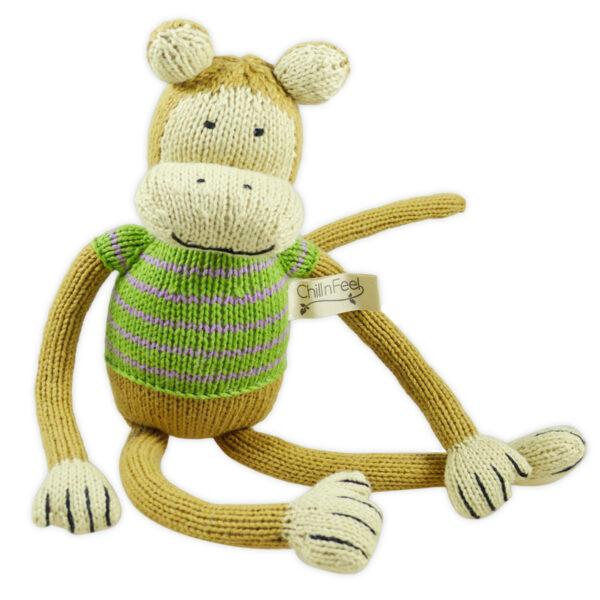 Lustiger Kuscheltier Affe 32 cm mit langen Armen aus Bio Baumwolle – Chill n Feel