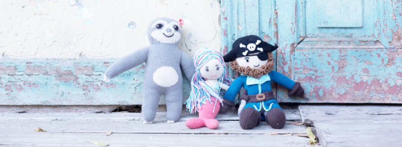 Puppen aus Bio Baumwolle_Recycling Füllwatte_Öko Stoffpuppen_Faultier_ChillnFeel