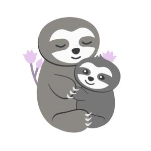Abendroutine für Kleinkinder_Mama Faultier kuschelt mit Baby