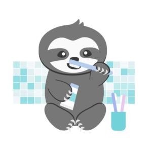 Einschlafrituale für Kleinkinder_Faultier putzt Zähne