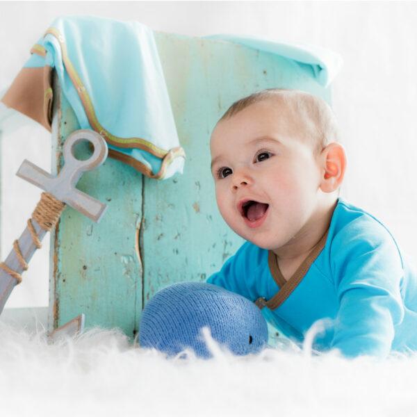 Chill n Feel - Baby Wickelbody aus Pima Bio-Baumwolle Türkis Braun (4)