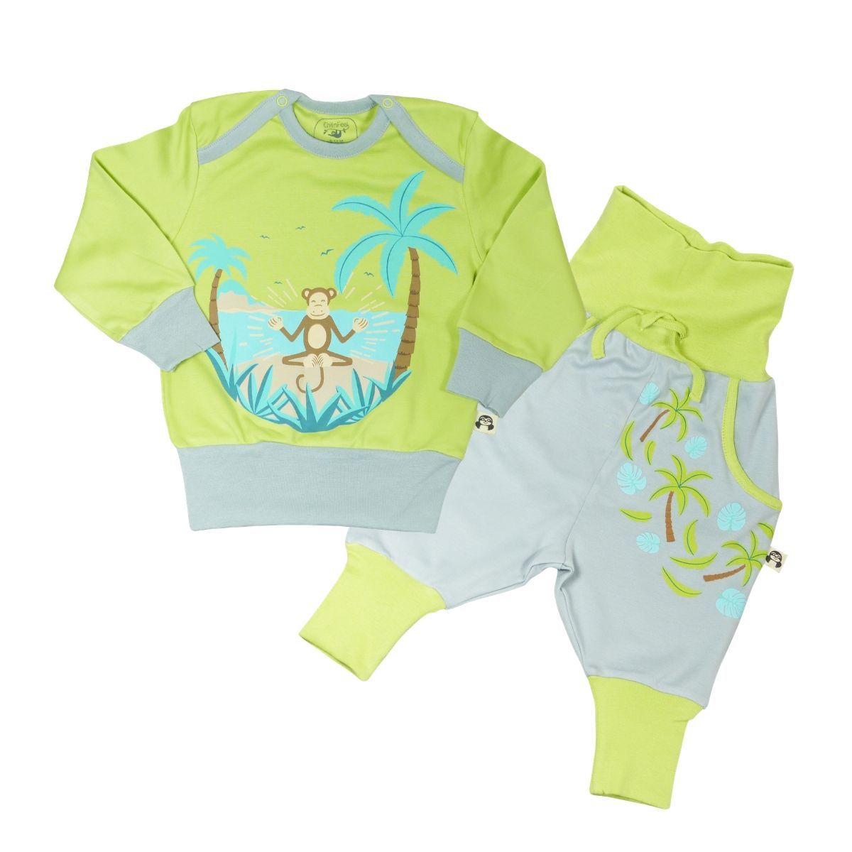 Chill n Feel - Baby und Kinder Hausanzug Palmblätter_Pima Baumwolle