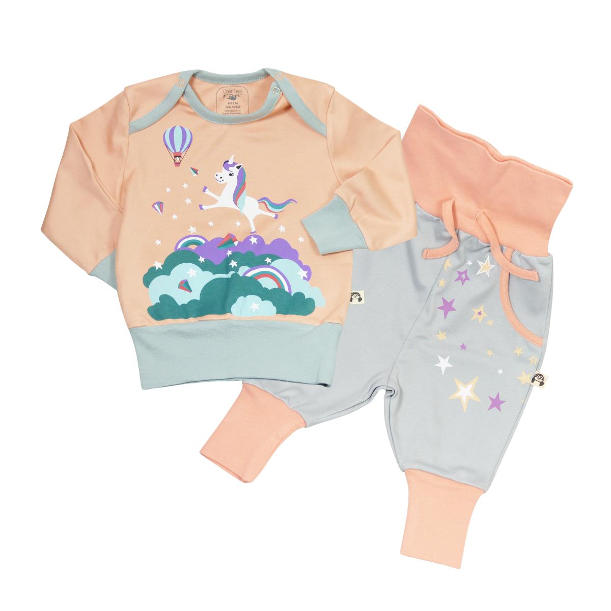 Baby und Kinder Schlafanzug Einhorn_Pima Baumwolle