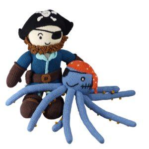 Spielset für Kinder bestehend aus Piratenpuppe und Strick-Oktopus