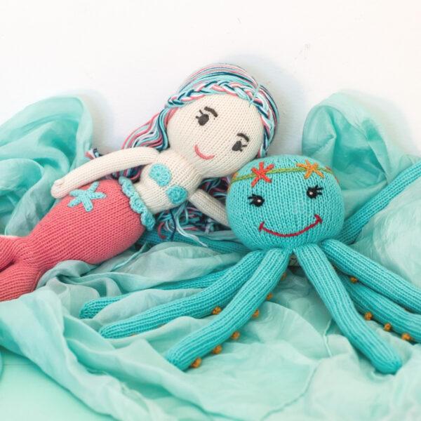 Maritimes Geschenk für Geschwister zur Geburt_Meerjungfrau und Oktopus (3)