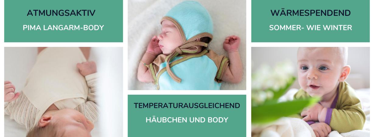 Winterbaby anziehen mit Bodys aus Pima Baumwolle