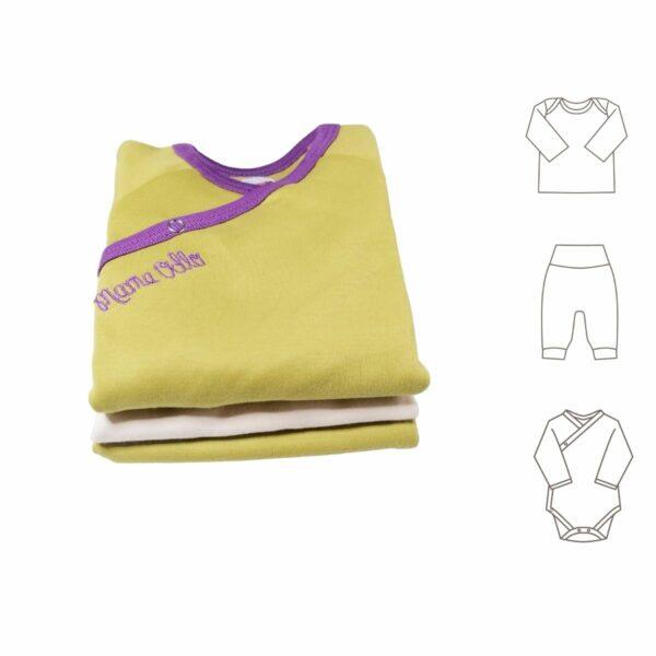 Erstlingsausstattung grüner Babybody Hose und Shirt