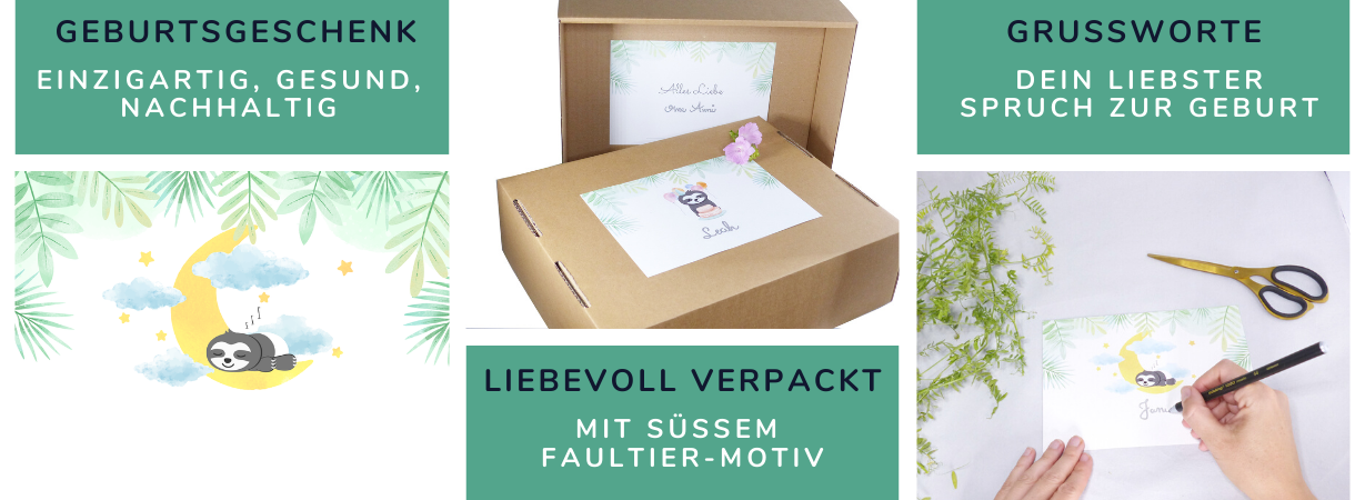 Babygeschenk liebevoll verpackt mit Grußkarte