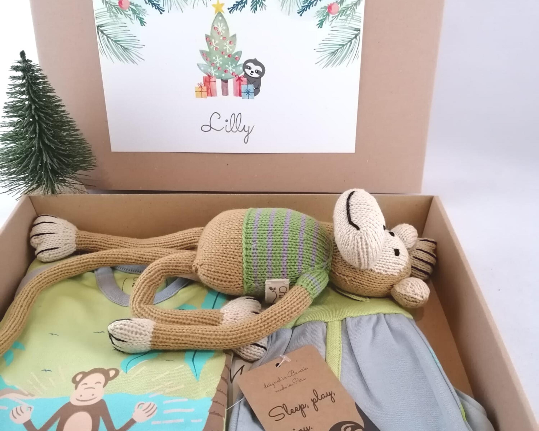Weihnachtsgeschenk für Kinder - Kuschel-Affe und Schlafanzug aus Pima Baumwolle