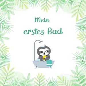 Baby Meilensteinkarte Faultier nimmt erstes Bad