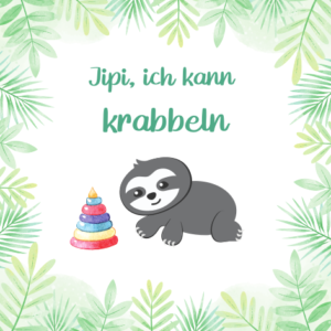 Baby Meilensteinkarte Faultier kann krabbeln
