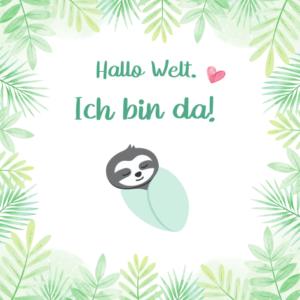 Baby Meilensteinkarte Hallo Welt