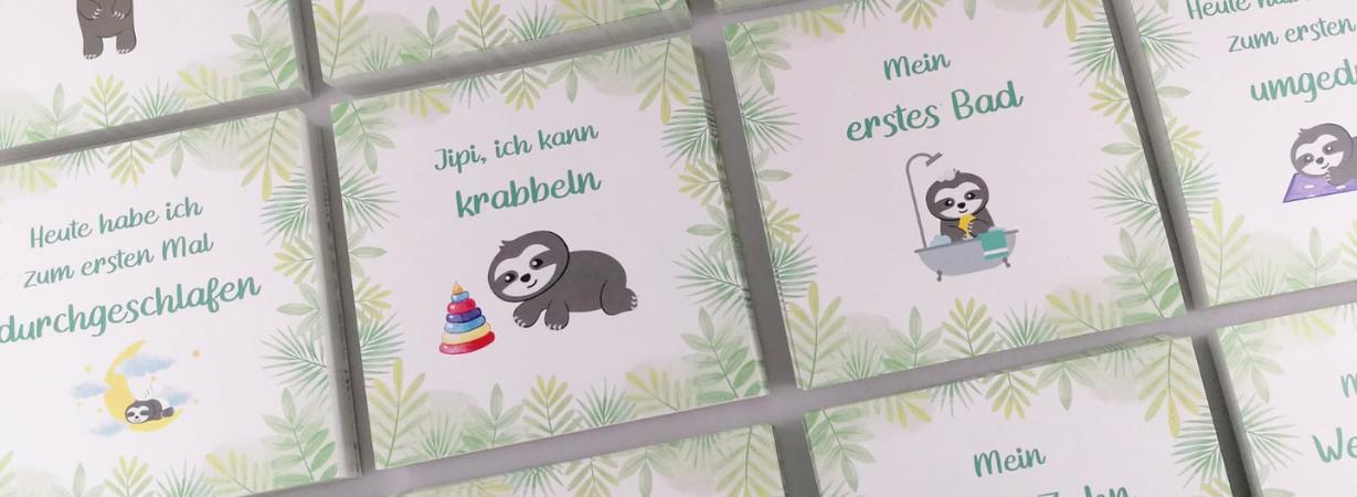 Baby Meilensteinkarten mit Faultieren_Tiermotive