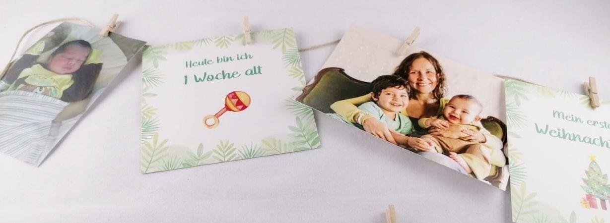 Foto Girlande mit Meilensteinkarten Babys erstes Jahr