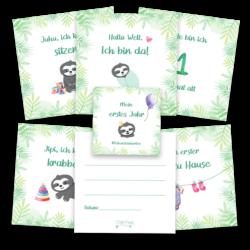 Meilensteinkarten Baby mit Faultier (2)