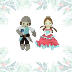 Weihnachtsgeschenk für Geschwisterkinder: Prinzessin und Ritter aus Bio Baumwolle