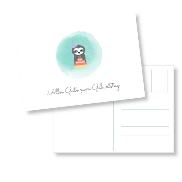 Postkarte Faultier_Alles Gute zum Geburtstag