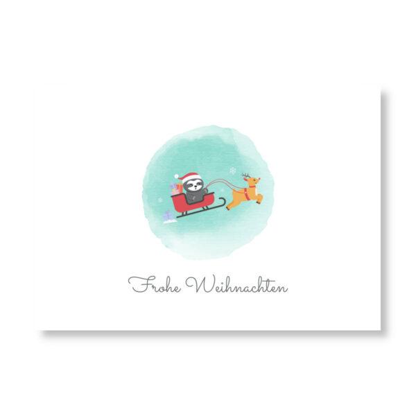 Postkarte Faultier_Frohe Weihnachten_Weihnachtsschlitten (2)