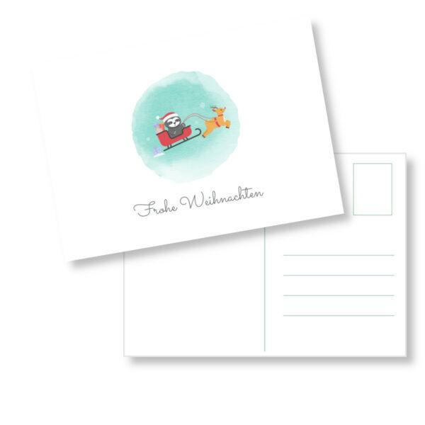 Postkarte Faultier_Frohe Weihnachten_Weihnachtsschlitten