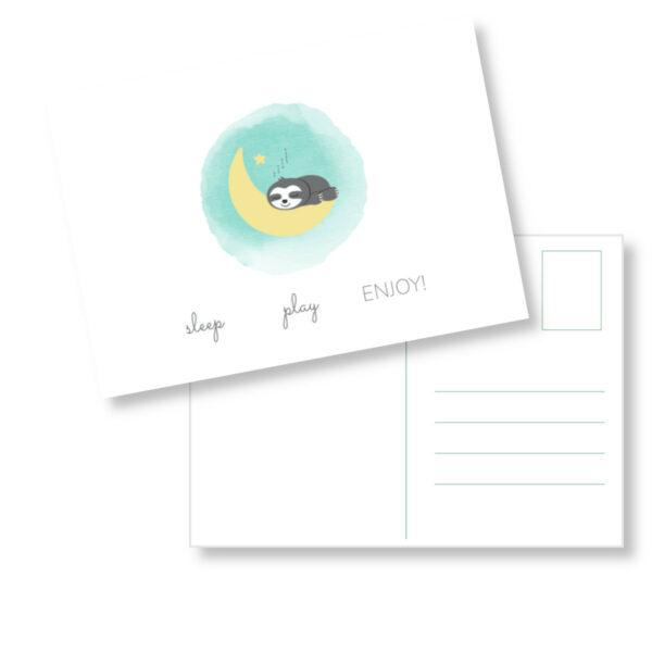 Postkarte Faultier_Grüße zur Geburt (1)