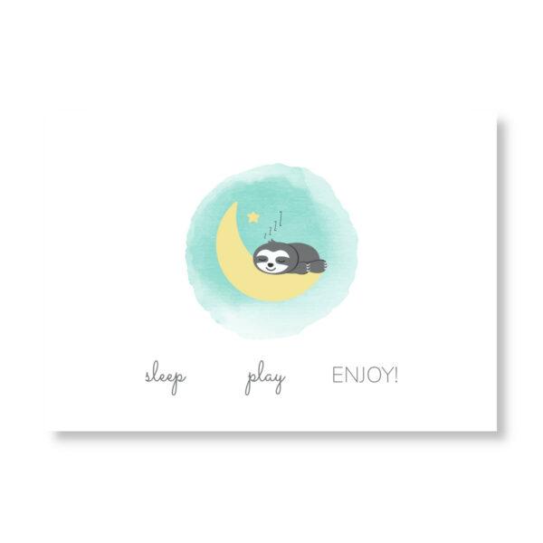 Postkarte Faultier_Grüße zur Geburt (2)