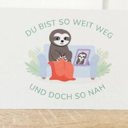 Postkarte_Faultier Grüße aus der Ferne