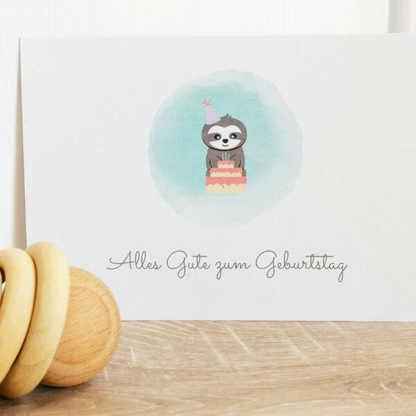 Postkarte_Faultier Grüße zum Geburtstag