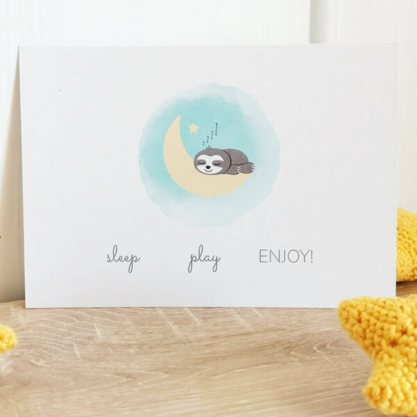 Postkarte_Faultier Grüße zur Geburt