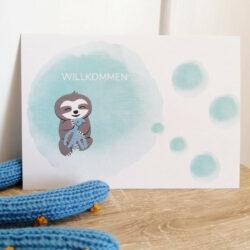 Postkarte_Faultier Grüße für Frühchen und Neugeborene