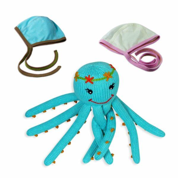 Frühchen Set für Mädchen_Häubchen und Oktopus aus Biobaumwolle