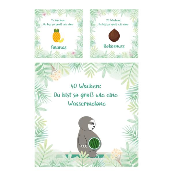 Meilensteinkarten Schwangerschaft_Faultier Motive_Baby Countdown (2)