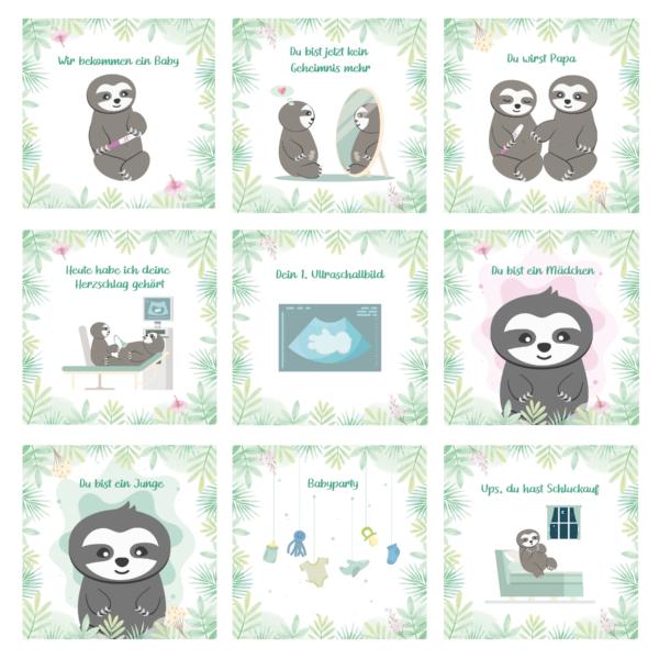 Meilensteinkarten Schwangerschaft_Faultier Motive_Baby Countdown (3)